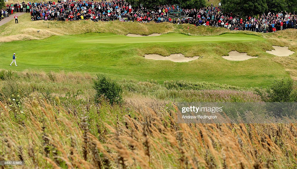 <a gi-track='captionPersonalityLinkClicked' href=/galleries/search?phrase=Thomas+Bjorn&family=editorial&specificpeople=202171 ng-click='$event.stopPropagation()'>Thomas Bjorn</a> of Denmark on the 10th hole during the final round of the Made In Denmark at Himmerland Golf & Spa Resort on August 17, 2014 in Aalborg, Denmark.
