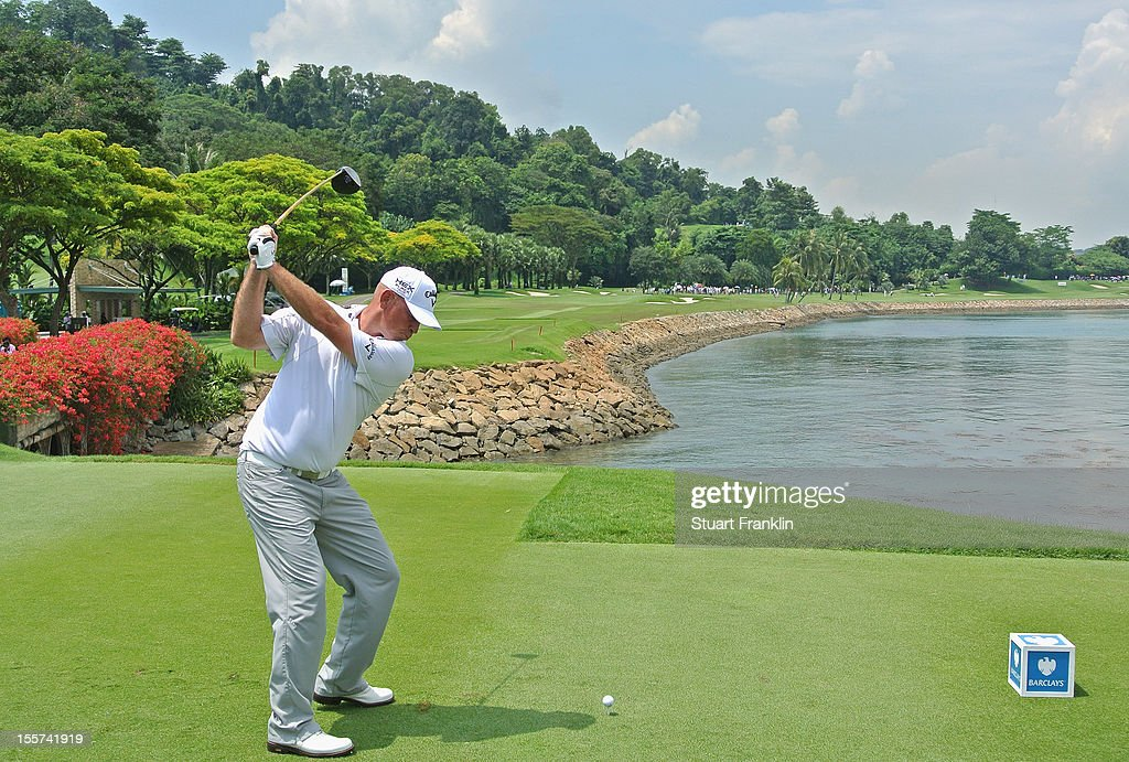 Thomas Bjorn of Denmark plays a shot during the first round of the Barclays Singapore Open at the Sentosa Golf Club on November 8, 2012 in Singapore.