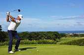 Thomas Bjorn of Denmark plays a shot during the second round of the AfrAsia Bank Mauritius Open at Heritage Golf Club on May 8 2015 in Bel Ombre...