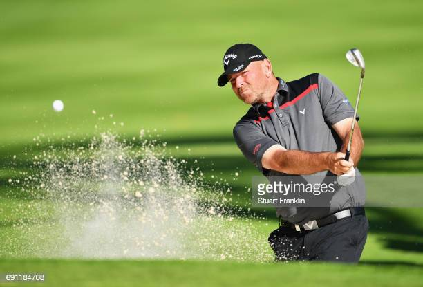 Thomas Bjorn of Denmark plays from a bunker during day one of the Nordea Masters at Barseback Golf Country Club on June 1 2017 in Barsebackshamn...