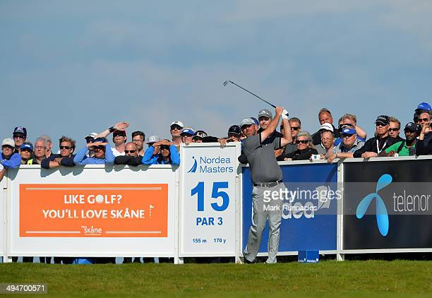 Thomas Bjorn of Denmark plays his tee shot at the 15th hole during the Nordea Masters at the PGA Sweden National on May 30 2014 in Malmo Sweden