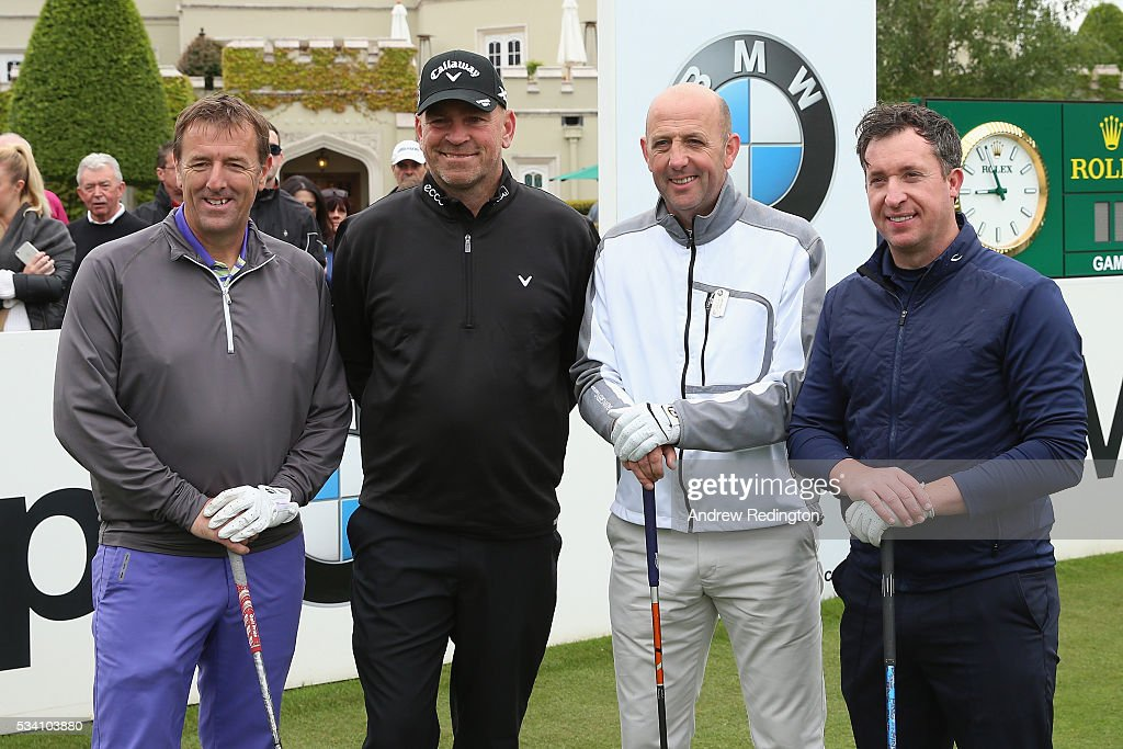 <a gi-track='captionPersonalityLinkClicked' href=/galleries/search?phrase=Thomas+Bjorn&family=editorial&specificpeople=202171 ng-click='$event.stopPropagation()'>Thomas Bjorn</a> of Denmark poses with Matt Le Tissier (L), Gary McAllister and <a gi-track='captionPersonalityLinkClicked' href=/galleries/search?phrase=Robbie+Fowler&family=editorial&specificpeople=206154 ng-click='$event.stopPropagation()'>Robbie Fowler</a> during the Pro-Am prior to the BMW PGA Championship at Wentworth on May 25, 2016 in Virginia Water, England.