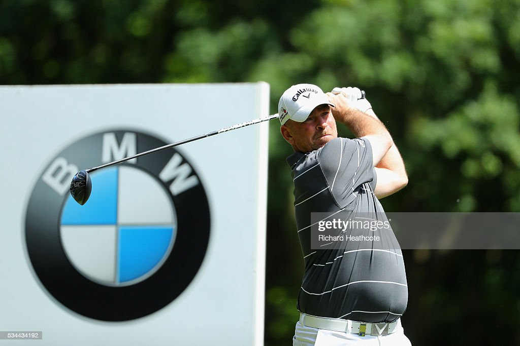Thomas Bjorn of Denmark tees off during day one of the BMW PGA Championship at Wentworth on May 26, 2016 in Virginia Water, England.
