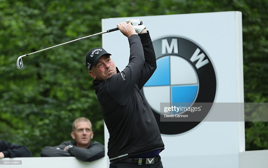 Thomas Bjorn of Denmark tees off during the Pro-Am prior to the BMW PGA Championship at Wentworth on May 25, 2016 in Virginia Water, England.