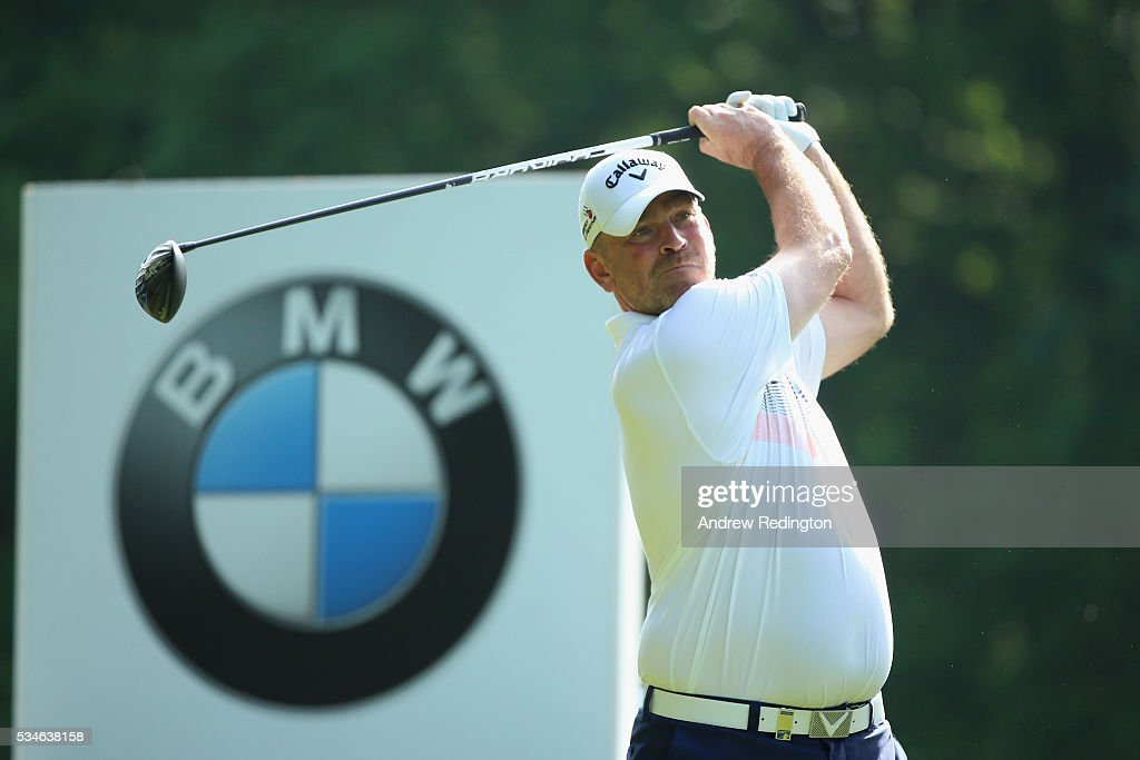 Thomas Bjorn of Denmark tees off on the 3rd hole during day two of the BMW PGA Championship at Wentworth on May 27, 2016 in Virginia Water, England.