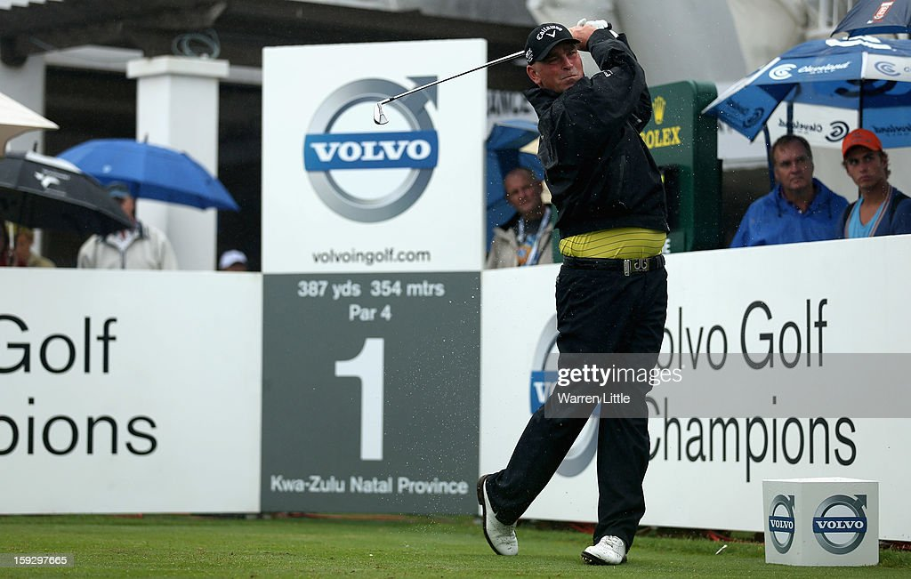 Thomas Bjorn of Denmark tees off on the first hole during the second round of the Volvo Golf Champions at Durban Country Club on January 11, 2013 in Durban, South Africa.