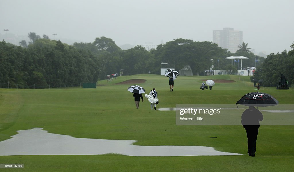 Thomas Bjorn of Denmark walks down the 10th hole during the second round of the Volvo Golf Champions at Durban Country Club on January 11, 2013 in Durban, South Africa.