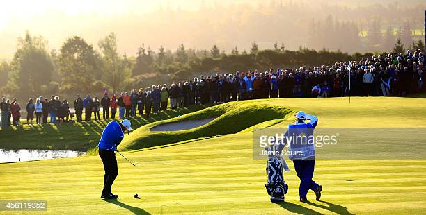 Thomas Bjorn of Europe plays an approach on the 2nd hole during the Morning Fourballs of the 2014 Ryder Cup on the PGA Centenary course at the...