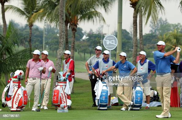 Thomas Bjorn of Team Europe watches his tee shot on the 11th hole during day one of the EurAsia Cup at Glenmarie GCC on March 27 2014 in Kuala Lumpur...