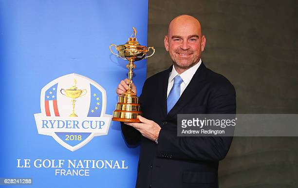 Thomas Bjorn poses with the Ryder Cup trophy as he is named 2018 Europe Ryder Cup Captain at Hilton Heathrow T5 on December 7 2016 in London England...