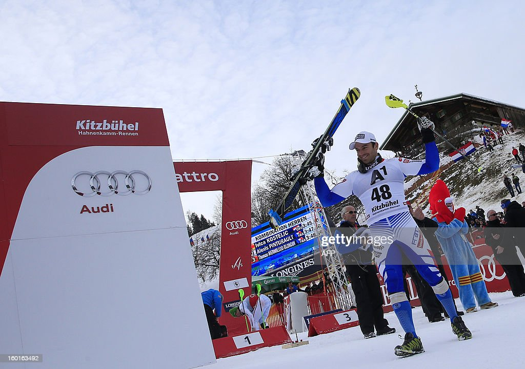 Thomas Blondin Mermillod (R) celebrates after winning third position at the FIS World Cup men's super combined on January 27, 2013 in Kitzbuehel, Austrian Alps. Croatia's Ivica Kostelic won the combined title ahead of French duo Alexis Pinturault and Thomas Mermillod Blondin .
