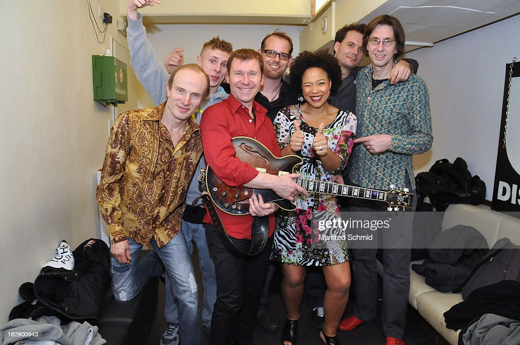 Thomas Borocz, Crissy Stohr, Edi Kohldorfer, Stefan Halmer, Stella Jones, Rue Kostron and Uli Datler pose backstage during the CD Presentation 'M.A.Y.A.' at Diskothek U4 on February 28, 2013 in Vienna, Austria.