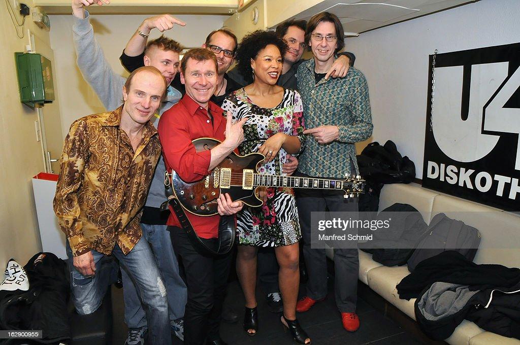 Thomas Borocz, Crissy Stohr, Edi Kohldorfer, Stefan Halmer, Stella Jones, Rue Kostron and Uli Datler pose backstage during the CD Presentation 'M.A.Y.A.' at Diskothek U4 on February 28, 2013 in Vienna, Austria.