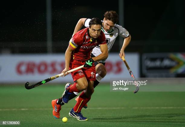 Thomas Briels of Belgium controls the ball during day 9 of the FIH Hockey World League Men's Semi Finals final match between Belgium and Germany at...