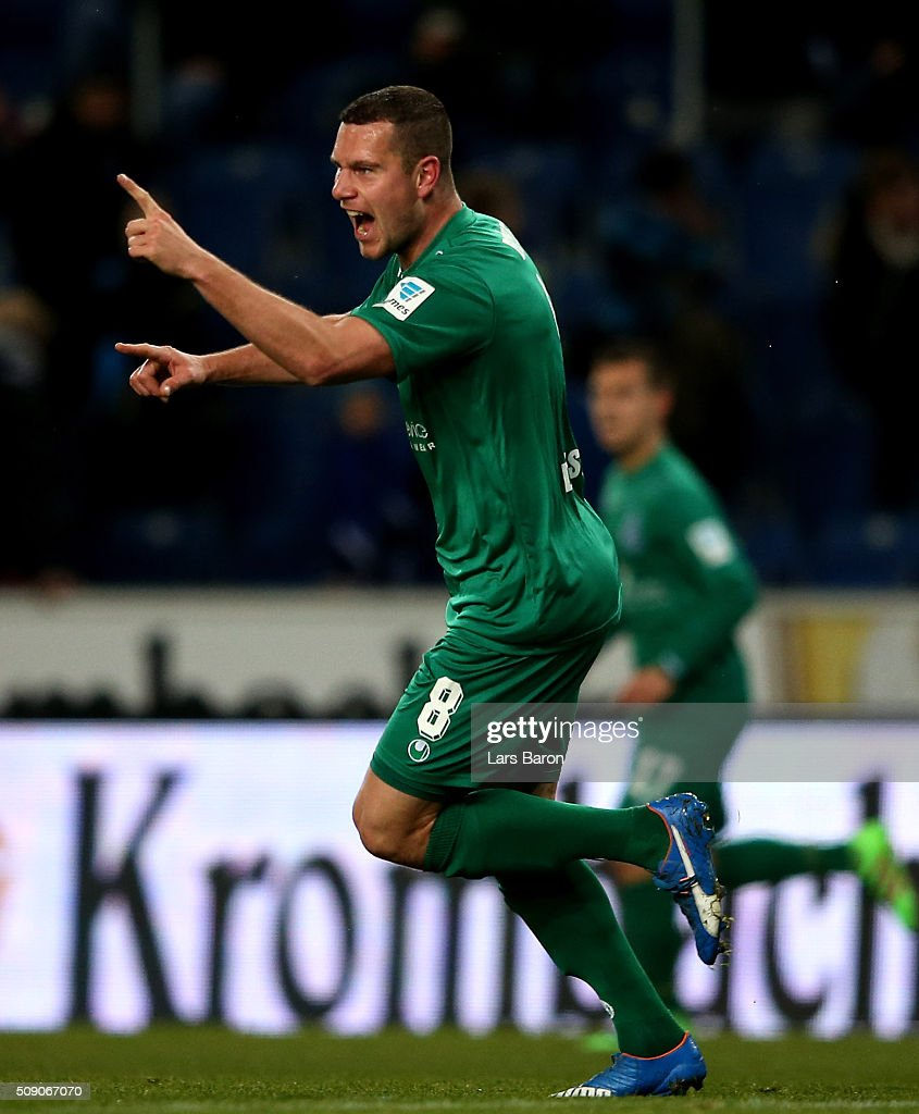 Thomas Broecker of Duisburg celebrates after scoring his teams first goal during the Second Bundesliga match between Arminia Bielefeld and MSV Duisburg at Schueco Arena on February 8, 2016 in Bielefeld, Germany.