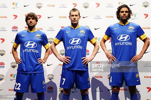 Thomas Broich Brett Emerton and Nikolai ToporStanley are unveiled as the first three ALeague All Stars names during the ALeague All Stars jersey...