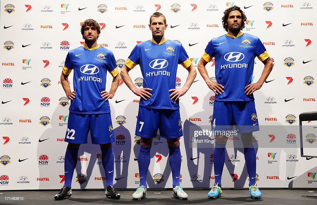 Thomas Broich, Brett Emerton and Nikolai Topor-Stanley are unveiled as the first three A-League All Stars names during the A-League All Stars jersey launch at Carriageworks on June 25, 2013 in Sydney, Australia.