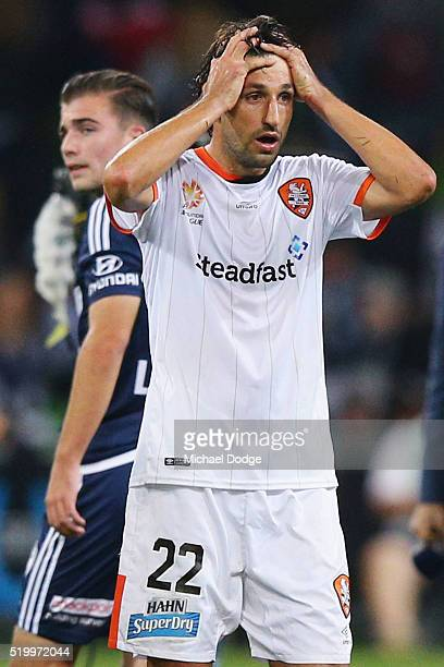 Thomas Broich of Brisbane Roar looks dejected after their draw during the round 27 ALeague match between the Melbourne Victory and the Brisbane Roar...