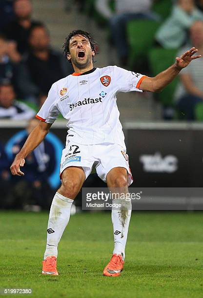 Thomas Broich of Brisbane Roar reacts after missing a close shot on goal during the round 27 ALeague match between the Melbourne Victory and the...