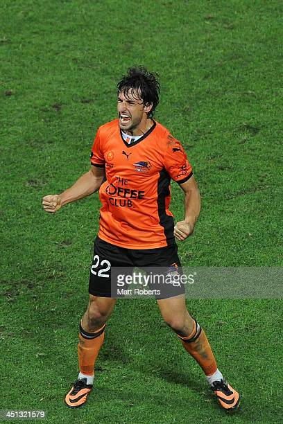 Thomas Broich of the Roar celebrates a goal by Kwame Yeboah during the round seven ALeague match between the Brisbane Roar and the Western Sydney...