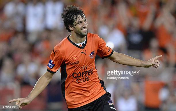 Thomas Broich of the Roar celebrates after scoring a goal during the round 21 ALeague match between Brisbane Roar and Perth Glory at Suncorp Stadium...