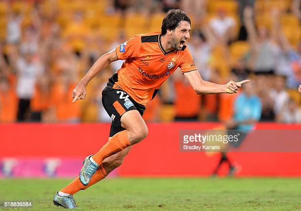 Thomas Broich of the Roar celebrates scoring a goal during the round 26 ALeague match between the Brisbane Roar and the Newcastle Jets at Suncorp...