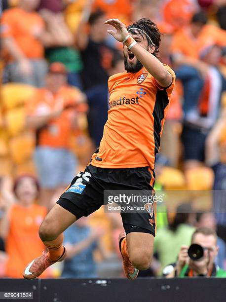 Thomas Broich of the Roar celebrates scoring a goal during the round 10 ALeague match between the Brisbane Roar and Adelaide United at Suncorp...