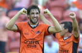 Thomas Broich of the Roar celebrates victory after the round 17 ALeague match between Brisbane Roar and the Central Coast Mariners at Suncorp Stadium...