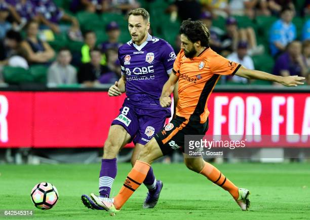 Thomas Broich of the Roar controls the ball during the round 20 ALeague match between Perth Glory and Brisbane Roar at nib Stadium on February 18...