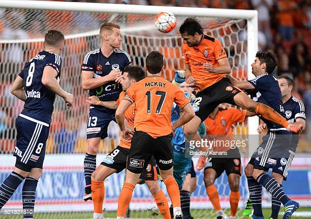 Thomas Broich of the Roar scores the winning goal during the ALeague Elimination Final match between the Brisbane Roar and Melbourne Victory at...