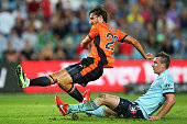 Thomas Broich of the Roar shoots for goal and scores during the round 12 ALeague match between Sydney FC and Brisbane Roar at Allianz Stadium on...