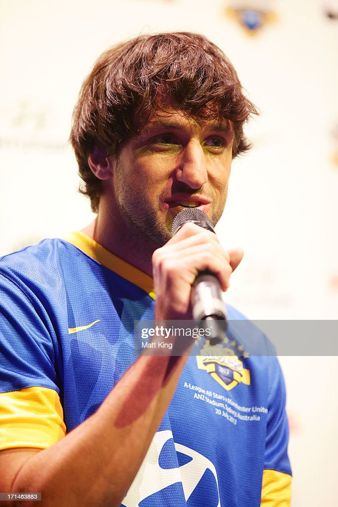 Thomas Broich speaks during the A-League All Stars jersey launch at Carriageworks on June 25, 2013 in Sydney, Australia.