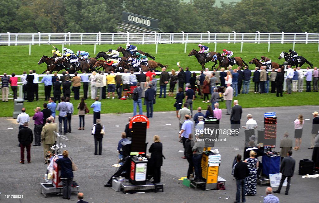 Thomas Brown riding Joey's Destiny (2nd L, light blue) win The 3663 Inspired By You Stakes at Goodwood racecourse on September 25, 2013 in Chichester, England.