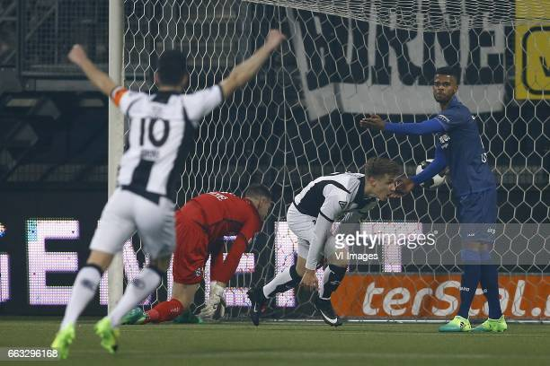 Thomas Bruns of Heracles Almelo Erwin Mulder of Heerenveen h29 scored Jeremiah St Juste of Heerenveenduring the Dutch Eredivisie match between...