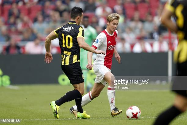 Thomas Bruns of Vitesse Frenkie de Jong of Ajax during the Dutch Eredivisie match between Ajax Amsterdam and Vitesse Arnhem at the Amsterdam Arena on...