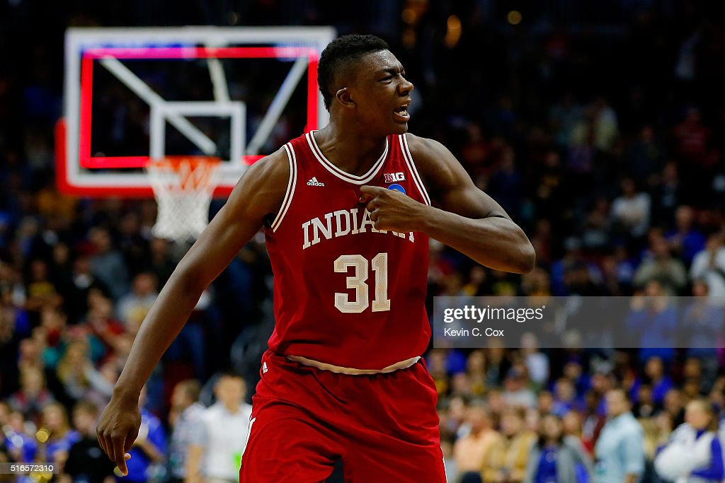 Thomas Bryant of the Indiana Hoosiers celebrates defeating Kentucky Wildcats 73 to 67 during the second round of the 2016 NCAA Men's Basketball...