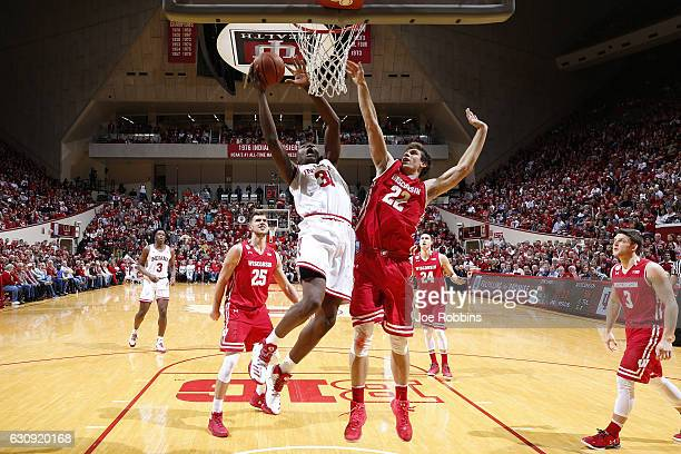 Thomas Bryant of the Indiana Hoosiers drives to the basket against Ethan Happ of the Wisconsin Badgers in the second half of the game at Assembly...