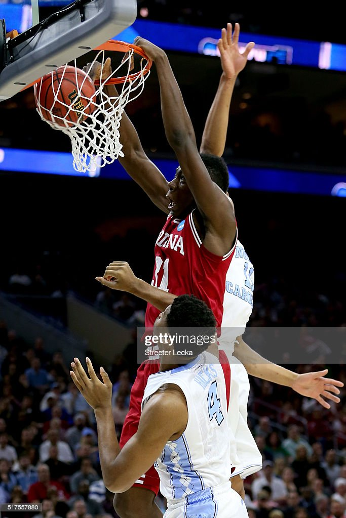 Thomas Bryant of the Indiana Hoosiers dunks the ball in the first half over Isaiah Hicks of the North Carolina Tar Heels during the 2016 NCAA Men's...