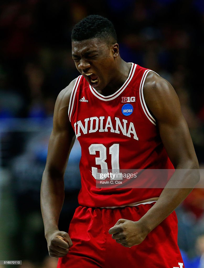 Thomas Bryant of the Indiana Hoosiers reacts in the second half against the Kentucky Wildcats during the second round of the 2016 NCAA Men's...