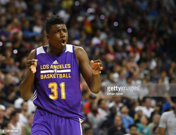 Thomas Bryant of the Los Angeles Lakers reacts after a teammate scored against the Dallas Mavericks during a semifinal game of the 2017 Summer League...