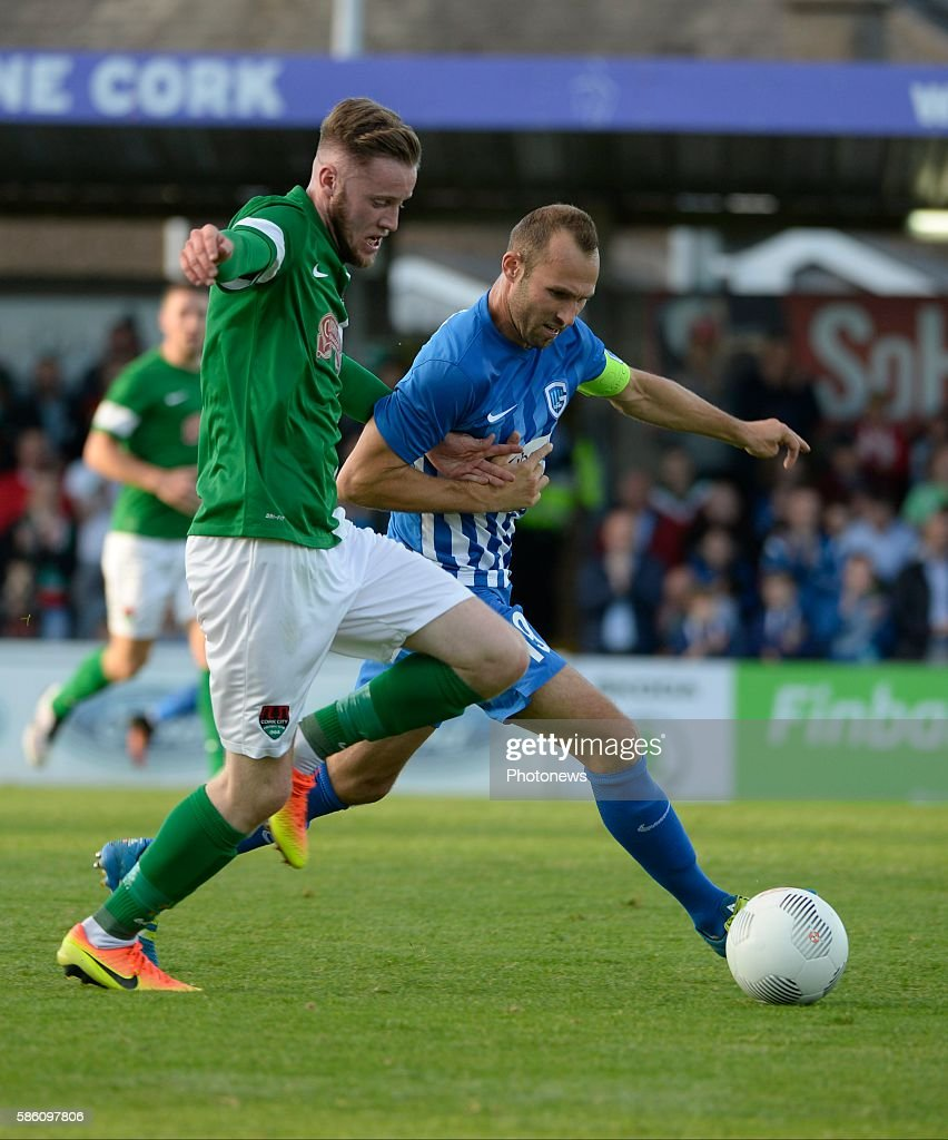 Thomas Buffel forward of Krc Genk and O' Connor pictured during UEFA Europa League third qualifying round 2nd Leg match between Cork City FC and KRC...