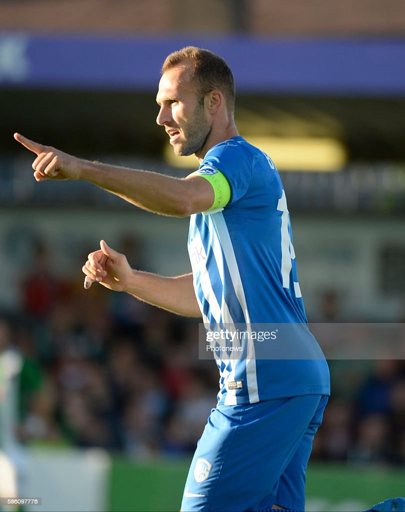 Thomas Buffel forward of Krc Genk celebrates with teammates after scoring pictured during UEFA Europa League third qualifying round 2nd Leg match...