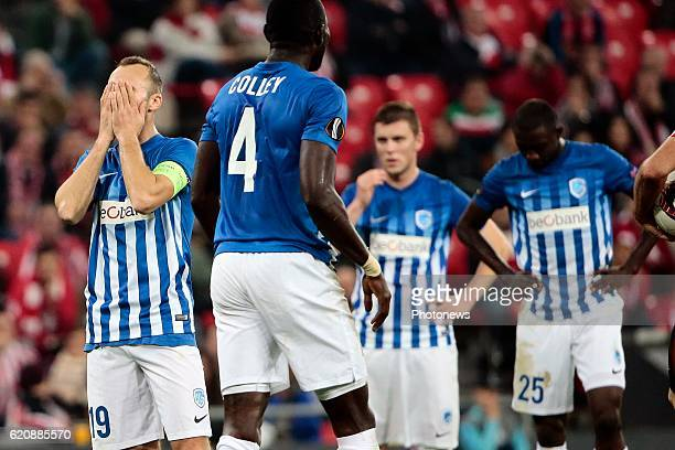 Thomas Buffel forward of KRC Genk looks dejected pictured during the UEFA Europa League group F stage match between Athletic Club de Bilbao and KRC...