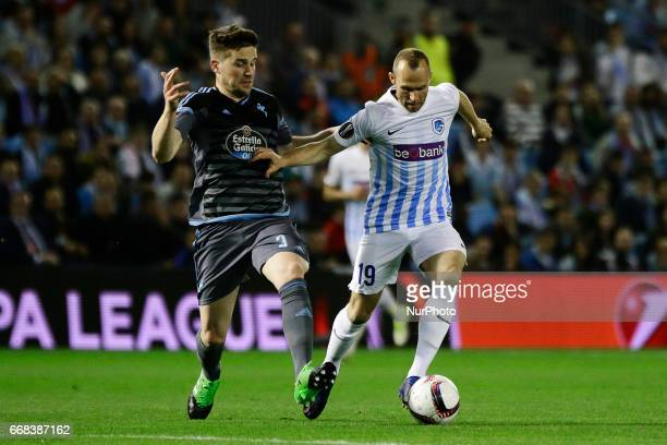 Thomas Buffel midfielder of KRC Genk FC battles for the ball with Andreu Fontas defender of Celta de Vigo during the UEFA Europe League Round of 4...