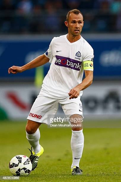 Thomas Buffel of Genk in action during the Jupiler League match between KAA Gent and KRC Genk held at the Ghelamco Arena on July 31 2015 in Gent...