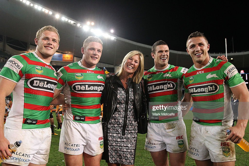 Thomas Burgess, <a gi-track='captionPersonalityLinkClicked' href=/galleries/search?phrase=George+Burgess+-+Rugby+League+Player&family=editorial&specificpeople=14024909 ng-click='$event.stopPropagation()'>George Burgess</a>, Julie Burgess, <a gi-track='captionPersonalityLinkClicked' href=/galleries/search?phrase=Luke+Burgess+-+Rugby+League+Player&family=editorial&specificpeople=15419958 ng-click='$event.stopPropagation()'>Luke Burgess</a> and <a gi-track='captionPersonalityLinkClicked' href=/galleries/search?phrase=Sam+Burgess&family=editorial&specificpeople=2650353 ng-click='$event.stopPropagation()'>Sam Burgess</a> pose after the round 25 NRL match between the Wests Tigers and the South Sydney Rabbitohs at Allianz Stadium on August 30, 2013 in Sydney, Australia.