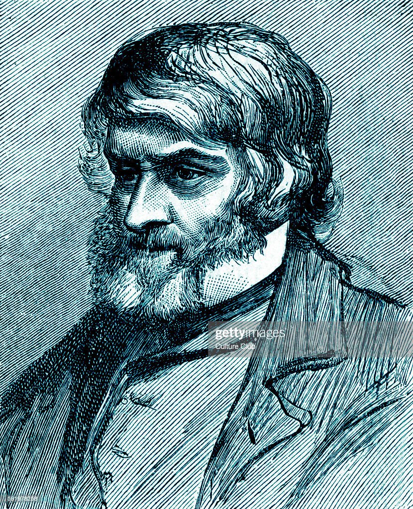 Thomas Carlyle Scottish philosopher satirical writer essayist historian and teacher during the Victorian era Illustration after a drawing by G Howard...