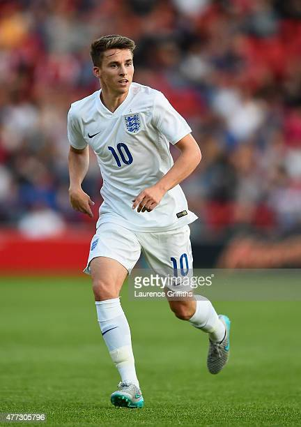 Thomas Carroll of England in action during the International Match between England U21 and Belarus U21 at Oakwell Stadium on June 11 2015 in Barnsley...