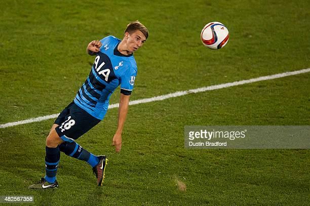 Thomas Carroll of Tottenham Hotspur redirects the ball against the MLS AllStars during the 2015 ATT Major League Soccer AllStar game at Dick's...