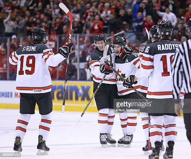 Thomas Chabot of Team Canada celebrates a goal against Team Slovakia during a preliminary game in the 2017 IIHF World Junior Hockey Championship at...
